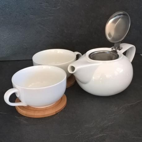 Service à thé 4 personnes porcelaine&bois