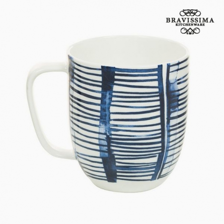 Tasse Porcelaine Rayures Blanc - Collection Kitchen's Deco by Bravissima Kitchen