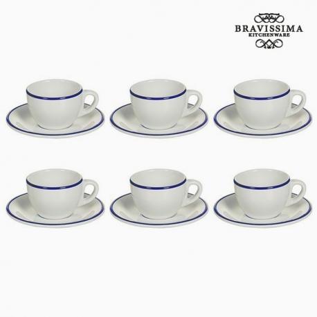 Ensemble de thé Vaisselle Blanc Blue marine (12 pcs) - Collection Kitchen's Deco by Bravissima Kitchen