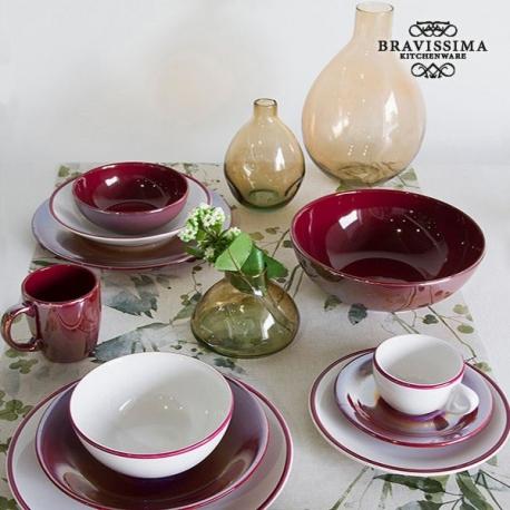 Ensemble de thé Vaisselle Blanc Bordeaux (12 pcs) - Collection Kitchen's Deco by Bravissima Kitchen