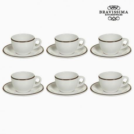Ensemble de thé Vaisselle Blanc Marron (12 pcs) - Collection Kitchen's Deco by Bravissima Kitchen
