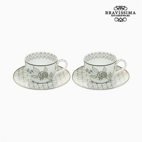 Ensemble de 2 tasses à café Porcelaine Blanc Noir (2 pcs) by Bravissima Kitchen