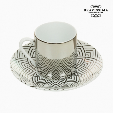 Tasse avec sous-tasse Magic Porcelaine Volets - Collection Kitchen's Deco by Bravissima Kitchen