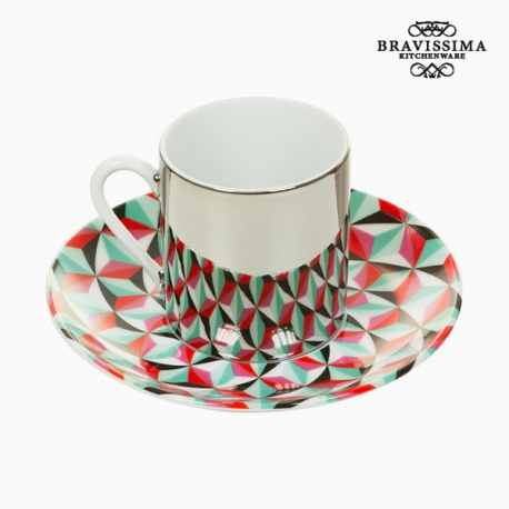 Tasse avec sous-tasse Magic Porcelaine Vert Rouge - Collection Kitchen's Deco by Bravissima Kitchen