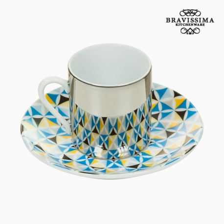 Tasse avec sous-tasse Magic Porcelaine Bleu Gris - Collection Kitchen's Deco by Bravissima Kitchen