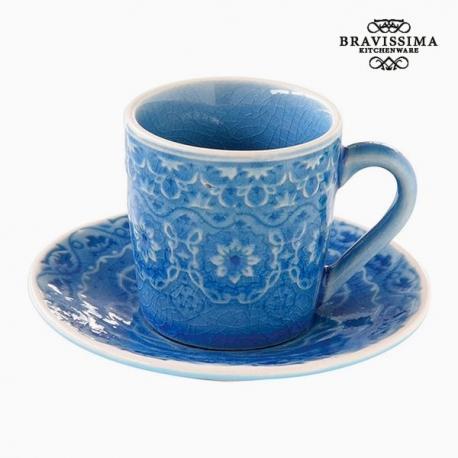 Tasse avec sous-tasse Porcelaine Bleu by Bravissima Kitchen