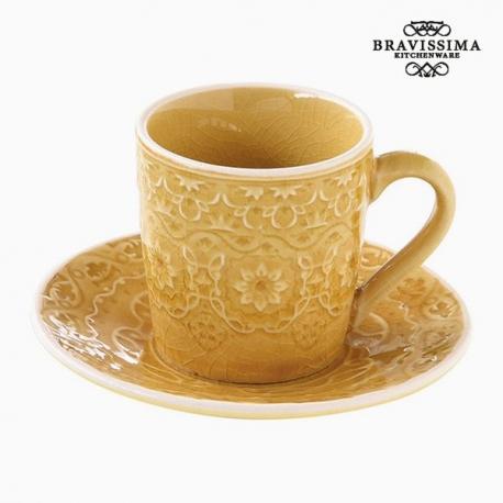 Tasse avec sous-tasse Porcelaine Jaune by Bravissima Kitchen
