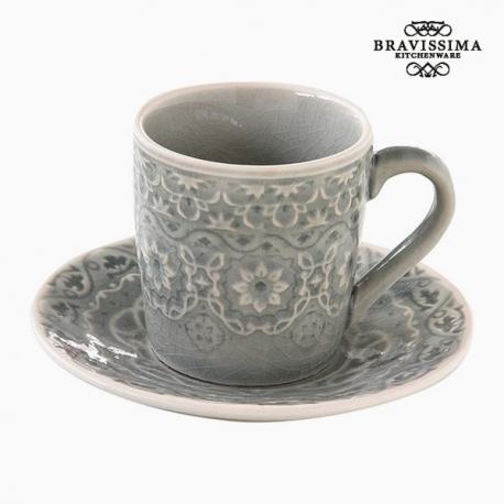Tasse avec sous-tasse Porcelaine Gris by Bravissima Kitchen