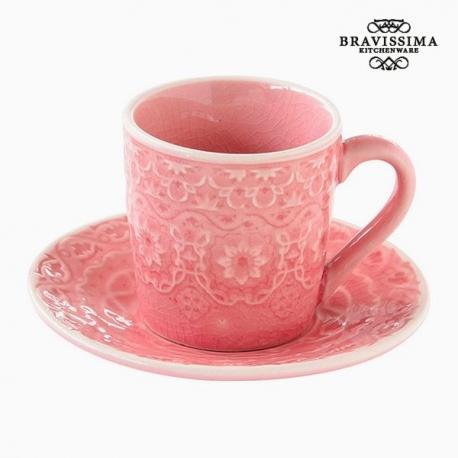 Tasse avec sous-tasse Porcelaine Corail by Bravissima Kitchen
